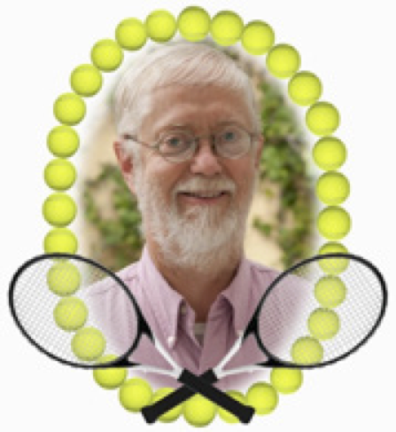 Bill Gessner photo with twin racquets